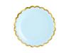 Pappersassietter ljusblå med guldkant 18 cm, 6-pack