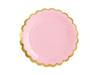 Pappersassietter rosa med guldkant 18 cm. 6-pack