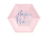 "Papperstallrikar ""Happy B'day"" rosa/holografisk silver, 6-pack"
