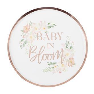 Tallrikar Babyshower- Baby in Bloom, 8-pack