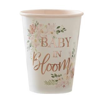Engångsmuggar Babyshower - Baby in Bloom, 8-pack