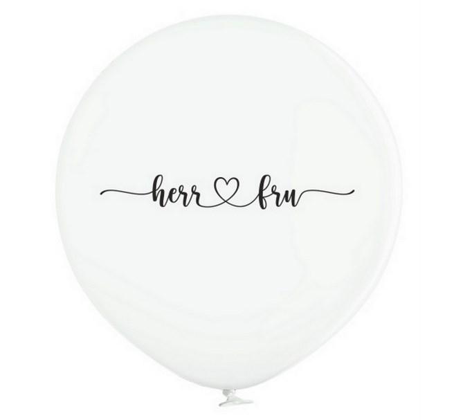"""Jätteballong Vit med svart text """"Herr ♥ Fru"""", 1 m"""