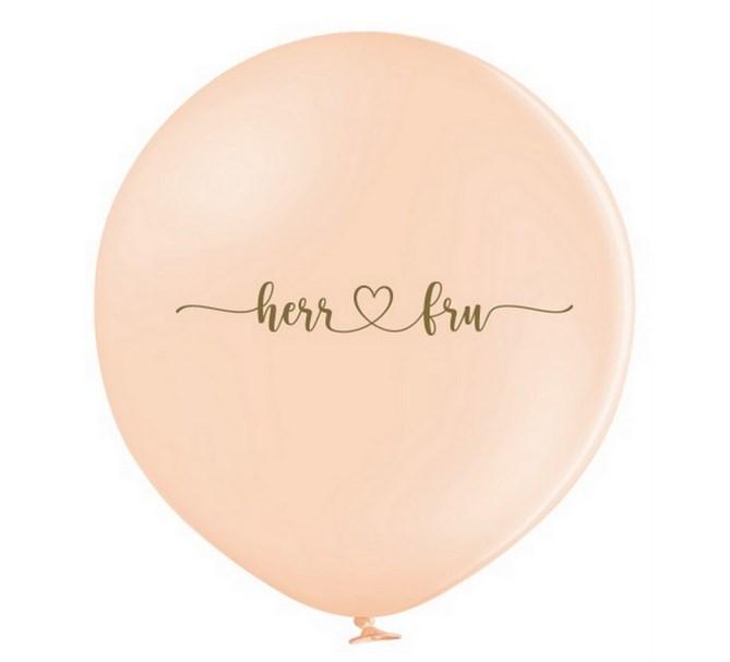 """Jätteballong Persika med guld text """"Herr ♥ Fru"""", 1 m"""