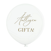"""Jätteballong Vit med guld text """"Äntligen Gifta!"""", 60 cm"""