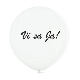 """Jätteballong Vit med svart text """"Vi sa Ja!"""", 60 cm"""