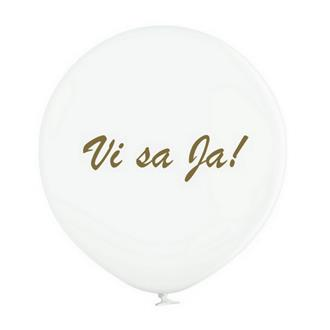 """Jätteballong Vit med guld text """"Vi sa Ja!"""", 60 cm"""