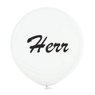 """Jätteballong Vit med svart text """"Herr"""", 60 cm"""