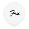 """Jätteballong Vit med svart text """"Fru"""", 60 cm"""