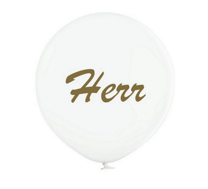 """Jätteballong Vit med guld text """"Herr"""", 60 cm"""