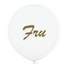 """Jätteballong Vit med guld text """"Fru"""", 60 cm"""