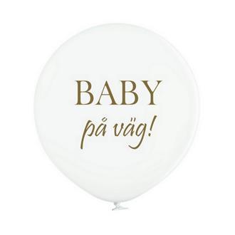 """Jätteballong Vit med guld text """"BABY på väg"""", 60 cm"""