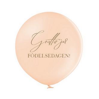 """Jätteballong """"Grattis på Födelsedagen"""" Persika/guld, 60 cm"""