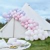 Ballonggirlang av 200 ballonger i Ljusrosa/Ljuslila/Vit