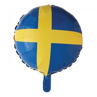 Folieballong Svenska flaggan, 45 cm.