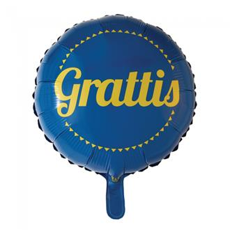 "Folieballong ""Grattis"" blå/gul, 45 cm."