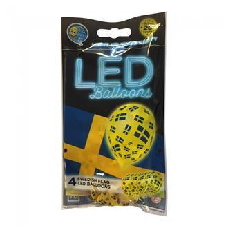 """LED-ballonger Svenska flaggan"""", 4-pack"""