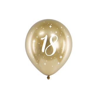 Födelsedagsballonger 18 år guld, 6-pack