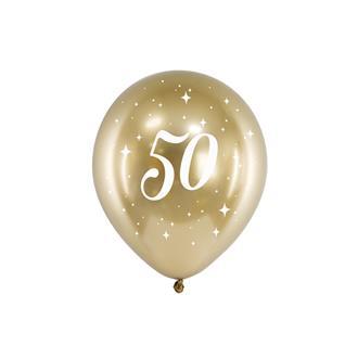 Födelsedagsballonger 50 år guld, 6-pack