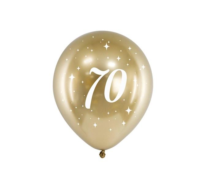 Födelsedagsballonger 70 år guld, 6-pack