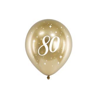 Födelsedagsballonger 80 år guld, 6-pack