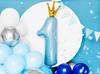 Folieballong 1 år med krona, blå/guld
