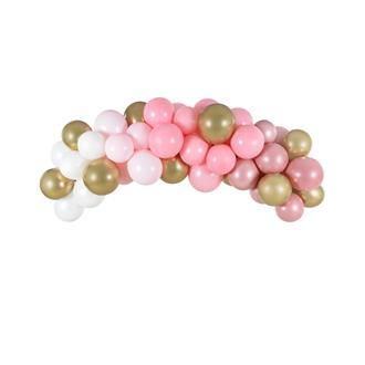 Ballonggirlang rosa/vit/guld, 2 m.
