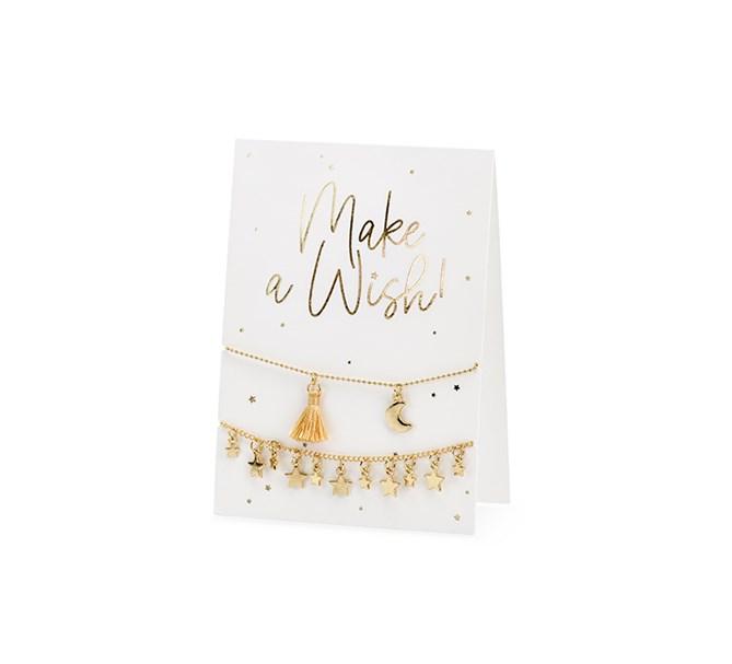 """Kort """"Make a Wish!"""" med 2 st. armband"""