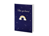 "Kort ""Follow your dreams!"" med regnbågs-pin"