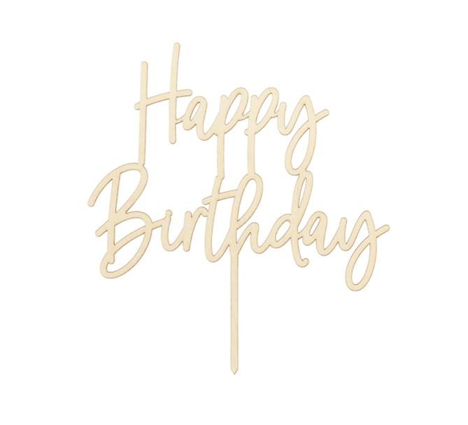 Tårtdekoration Happy Birthday trä