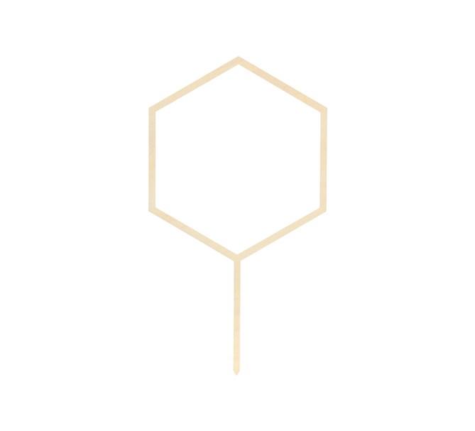 Tårtdekoration Hexagon i trä 24 cm.