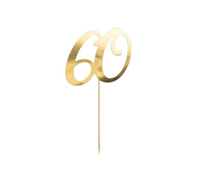 Tårtdekoration 60 år, guld