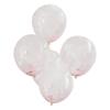 Konfettiballong med rosa pärlkonfetti,  5-pack