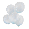 Konfettiballong med blå pärlkonfetti,  5-pack