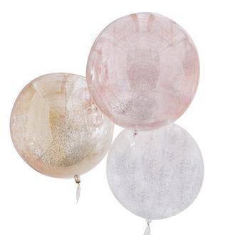 Jätteballonger klot med glitter rosa/guld/vit, 3-Pack