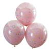 Dubbla konfettiballonger Rosa/pastell regnbågsfärgade, 3-pack