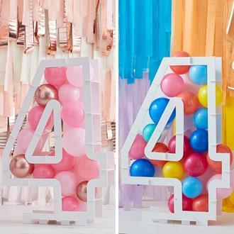 Ballongställ siffran 4, utan ballonger
