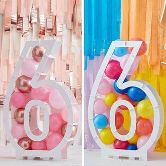 Ballongställ siffran 6, utan ballonger