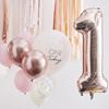 Ballongbukett 1 år Rosa/Roséguld/Vit