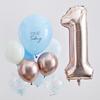 Ballongbukett 1 år Blå/Roséguld/Vit