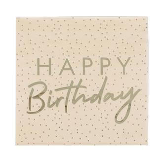 "Servetter ""Happy Birthday"" persika/guld,16-pack"