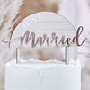 "Tårtdekoration ""Just Married"" akryl/trä/rosé"