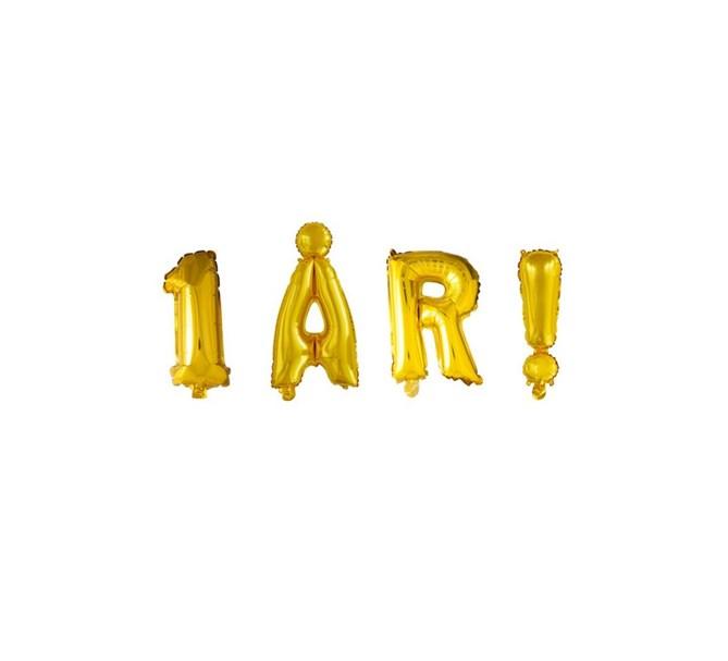 Ballonggirlang 1 ÅR !  guld 41 cm hög