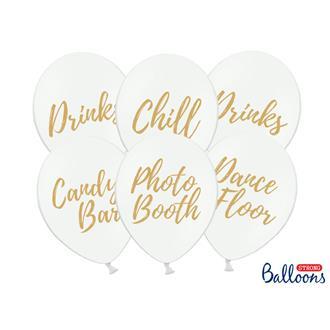Ballonger vita mixade, 6-pack