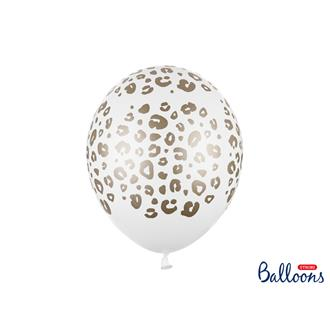 Ballonger Leopardmönster vit/guld 30 cm, 5-pack