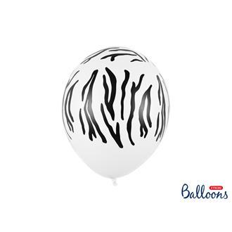 Ballonger Zebramönster vit/svart, 5-pack