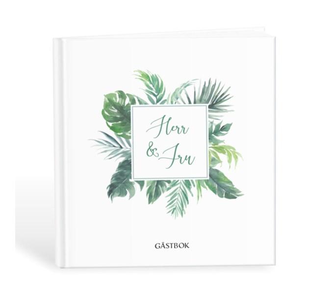 """Gästbok """"Herr & Fru"""" med gröna blad"""