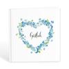 Gästbok med hjärta av blå blommor
