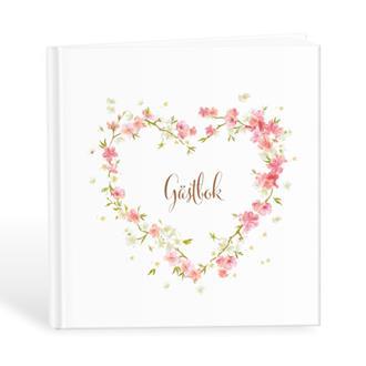Gästbok med hjärta av rosa blommor