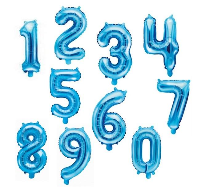 Sifferballong Blå 35 cm, Siffrorna 0-9