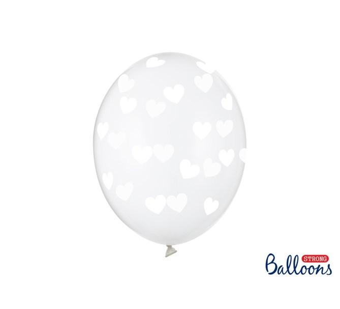 Ballonger vita hjärtan, 6-pack